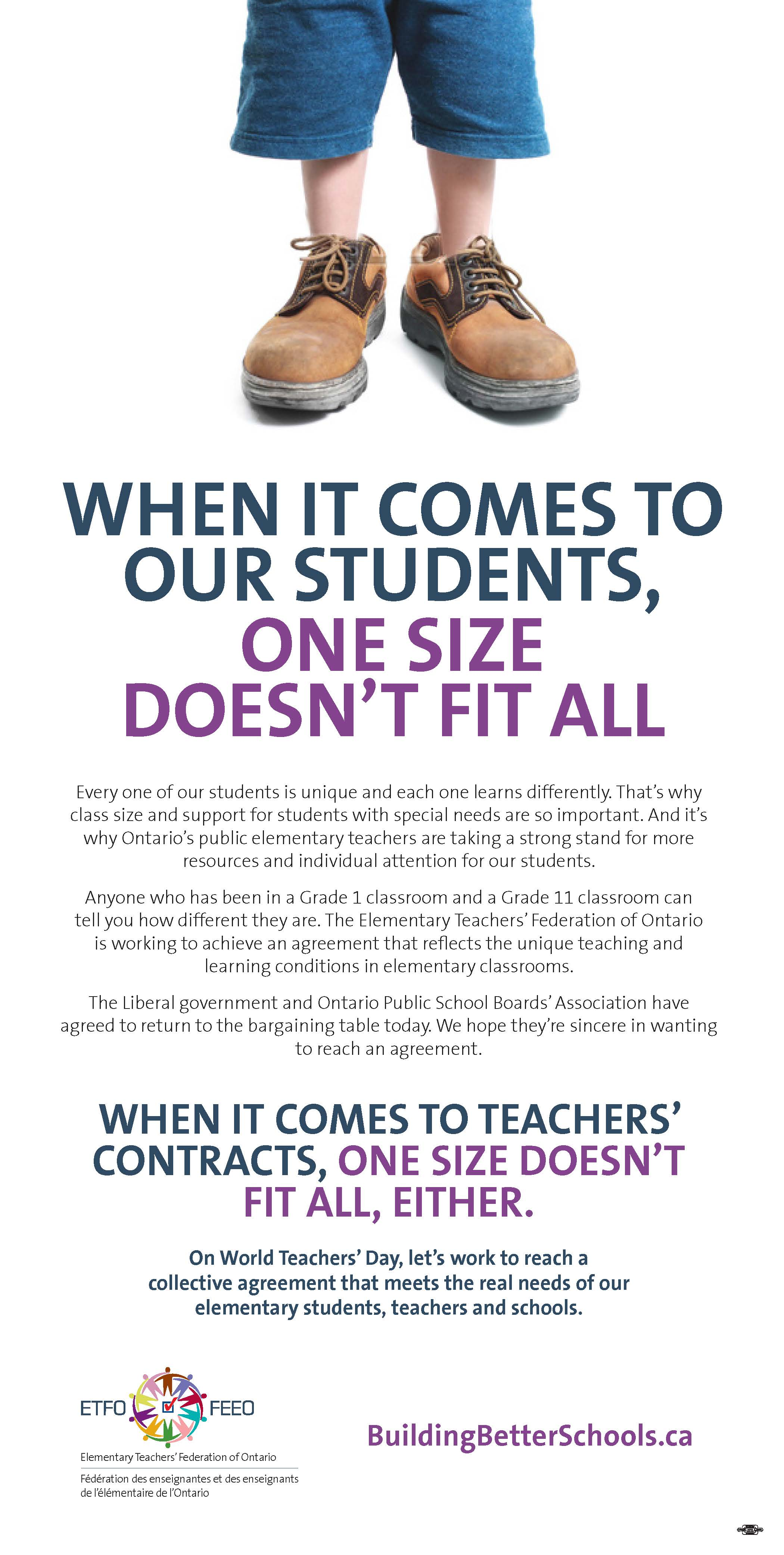 ETFO - Toronto Star Ad - One Size Doesn't Fit
